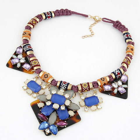Europe and the United States fashion Fan beauty queen: gorgeous gemstone temperament necklace - Selenekiss