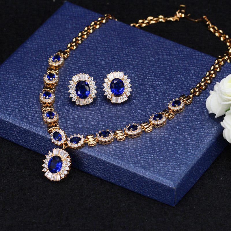 Europe and the United States fashion big retro women necklace earrings set of bridal suit exaggerated with jewelry manufacturers wholesale - Selenekiss