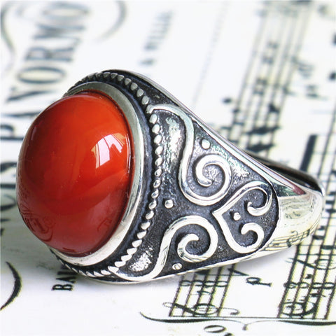 Natural south red agate ring ring full color full of meat Sichuan Liangshan nine materials 925 silver inlaid mouth design - Selenekiss