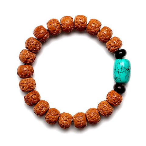 Nepal red skin high-density small diamond lap bracelet hand string Bodhi child men and women turquoise rosary