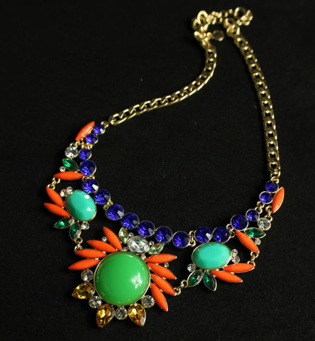 41.JCR Bohemian national wind gemstone blue fluorescent orange gem golden necklace - Selenekiss