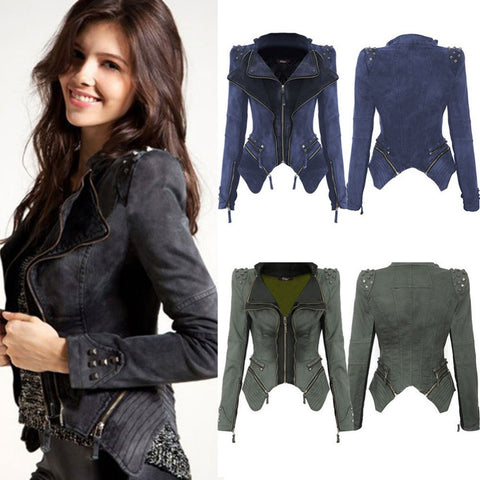 Autumn Women Rivet Jeans Coat Long Sleeve Short Denim Jacket Lady Fashion Zipper Slim Cowboy Overcoat Punk Chaquetas Mujer W035 - selenekiss - 1