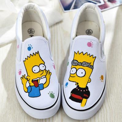 Boys Girls Anime Simpsons Hand Painted Canvas Shoes - White - selenekiss