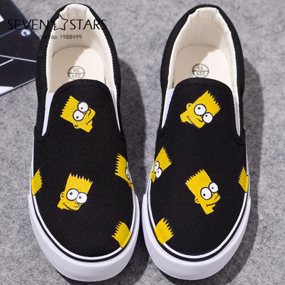 Boys Girls Anime Simpsons Hand Painted Canvas Shoes - Black - selenekiss