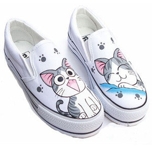 Custom Hand Painted Shoes Cartoon Cat Canvas Shoes For Lovers Oxford Shoes For Women And Men-  Silver - selenekiss