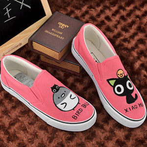 Custom Hand Painted Shoes Cartoon Cat Canvas Shoes For Lovers Oxford Shoes For Women And Men-  Red - selenekiss