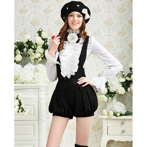 Fashion Elegant Female OL Office Formal Victorian Women Blouse Stand Collar Puff Blouse Frilly Ruffle Top Shirt Black White L993 - selenekiss - 1