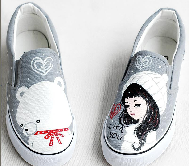women's personalized hand-painted comfortable shoes-Gray - selenekiss