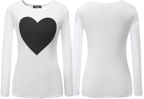 Gray Fashion Casual Women Love Heart Printed Round Neck Long Sleeve T-shirt Tops Shirt Tees Plus Size S208 - selenekiss - 1