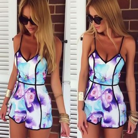 Selenekiss Store 2016 Sexy Women Strap Print Jumpsuits Rompers Casual Vintage Short Beach Playsuit Overalls Plus Size S-XXL L833 - selenekiss - 1