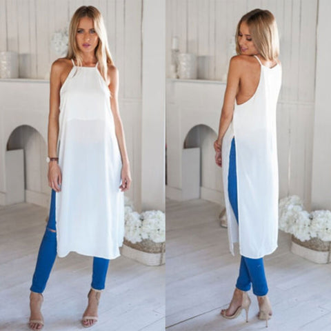 High Slit Maxi Long Dress Fashion Casual Sleeveless Summer Beach Split Tee Shirt Dress Sexy Cotton Sundress L966 - selenekiss - 1