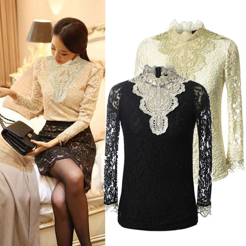 New Girls Women's Sexy Casual Long Sleeve Lace Floral Tops Shirt Blouse Plus Size Blusas Femininas Free Shipping S209 - selenekiss - 1