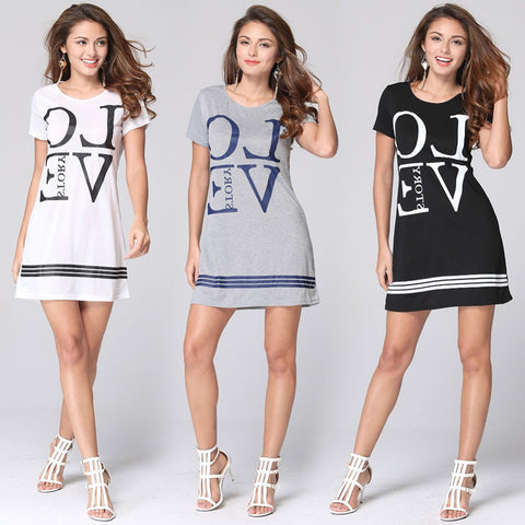 Hot Sale 2016 Fashion Women Summer Dress Short Sleeve O-neck Mini Casual Dress Letter Print Loose Women Dresses L903 - selenekiss - 1
