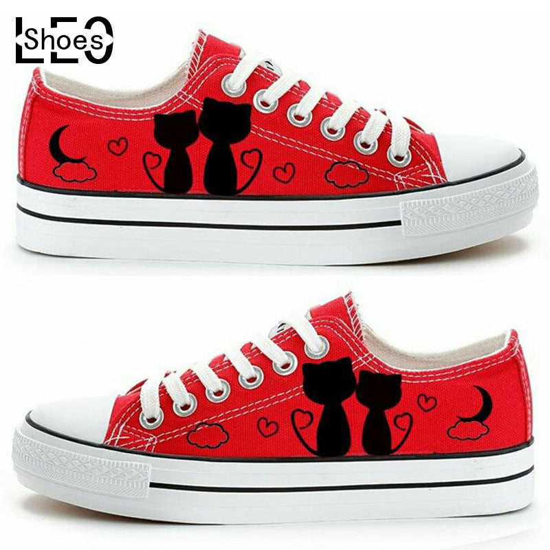 Cat Lovers Design Fashion Casual Shoes for Men Women-Red - selenekiss