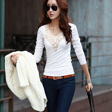 New 2015 Fashion Brand T Shirt Women Long Sleeve Sexy Lace Crochet T-Shirt Embroidery Knitted Slim Novelty Tops Plus Size S207 - selenekiss - 1