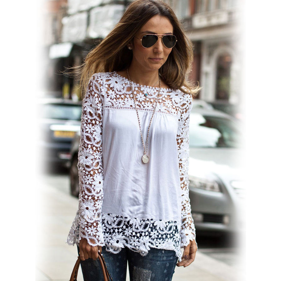 New 2016 Fashion Lace Chiffon Women Blouse Gorgeous Shirts Long Sleeve Hollow Crochet Casual Blusas Femininas S-2XL L122 - selenekiss - 1