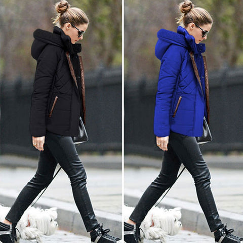 New 2016 Winter Women Wadded Coat Jacket Female Slim Warm Padded Down Parkas Casual Cotton Outerwear Plus Size Blue Black W012 - selenekiss - 1