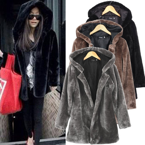 New 2016 Women Fall Winter Faux Fur Coat Women Long Sleeve Hooded Overcoat Jacket Outerwear Casacos Femininos Black Gray 9021 - selenekiss - 1