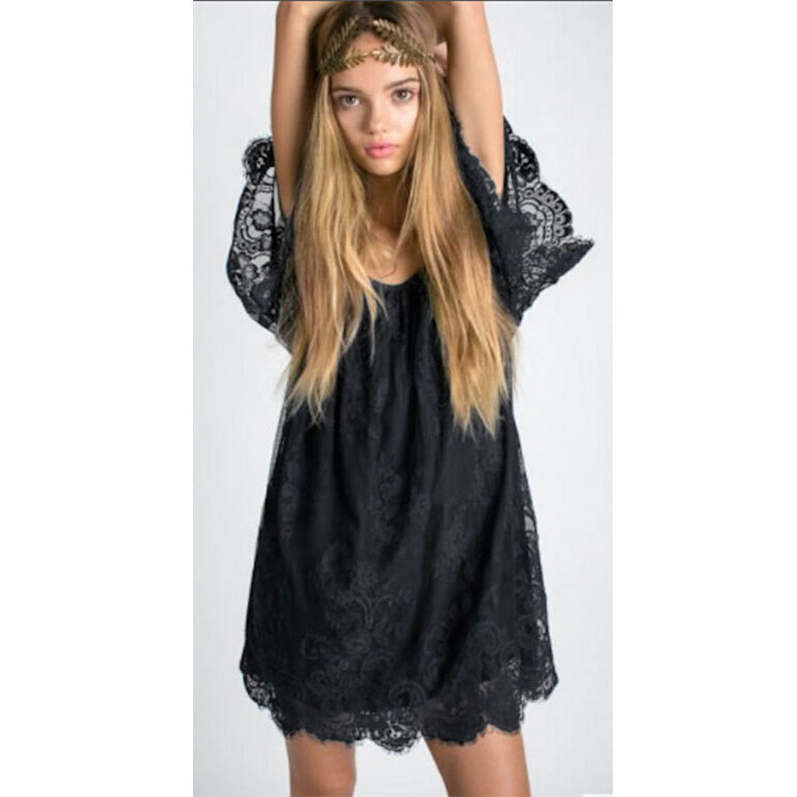 New Fashion Sexy Women Summer Strap Causal Lace Mini Top Dress 2016 Ladies Cocktail Party Dresses L815 - selenekiss - 1