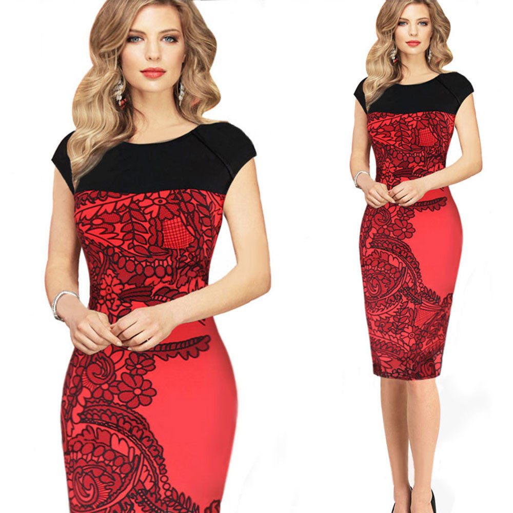 New Trendy 2016 Women Summer Sleeveless Embroidery Flower Print Dress Elegant Office Ladies Sexy Bodycon Pencil Dresses Q136 - selenekiss - 1