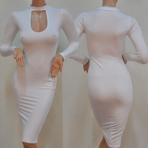 Party Dresses 2015 Fall Winter Long Sleeve Midi Pencil Tunic Women Sexy Club Stretchy Cotton Bandage Bodycon Dress P031 - Selenekiss