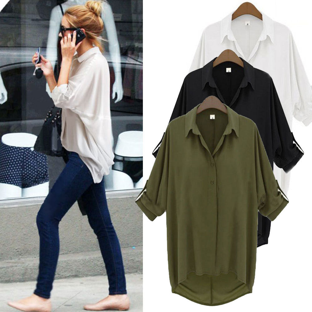Plus Size 2015 Women Summer Chiffon Shirt Long Batwing Sleeved Blouse Turn-down Collar Loose Casual Blusas Femininas L769 - selenekiss - 1