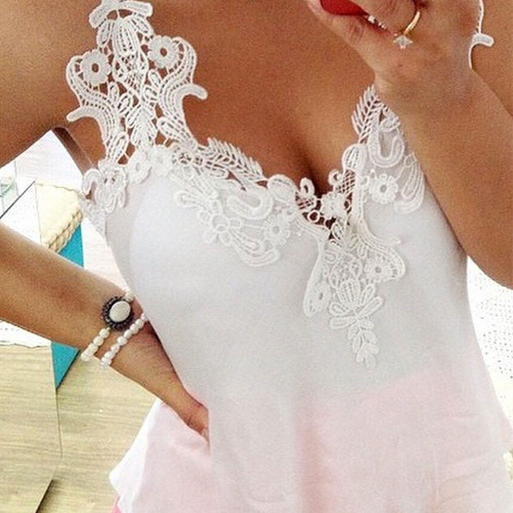 S-3XL New 2016 Summer Women Strap Sleeveless V-Neck T-Shirt Vest Casual Sexy Lace Tank Tops Camisole L117 - Selenekiss