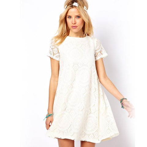 Summer Dress 2015 European Style Women Short Sleeve A-line Dress Plus Size O-neck Loose Casual Lace Dress Candy Color Dress Q163 - selenekiss - 1
