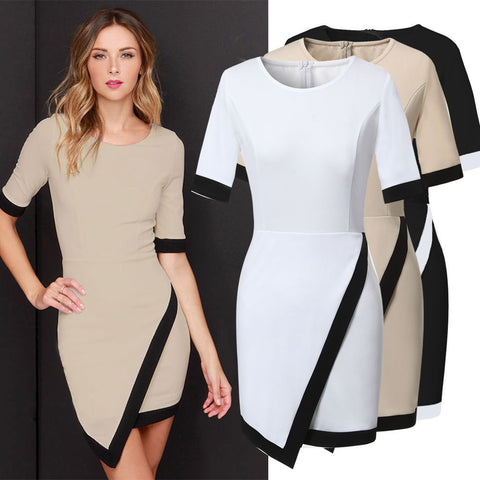 White Fashion 2015 New Women Casual Dress Bandage Bodycon Half Sleeve Ladies Asymmetric Patchwork Elegant Dresses Plus Size Q115 - selenekiss - 1