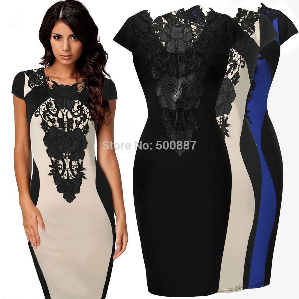 Women Sexy Summer Dresses European Patchwork Floral Lace Embroidery Backless Bodycon Bandage Party Mini Casual Dress Q122 - selenekiss - 1