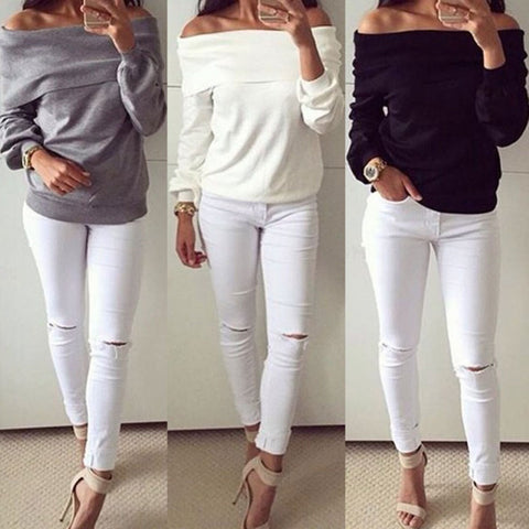 Women Tops 2016 New Fashion Spring Autumn Lady Casual T-Shirt Sexy Slash Neck Shirt Long Sleeve Off Shoulder Blusa Feminina F060 - selenekiss - 1