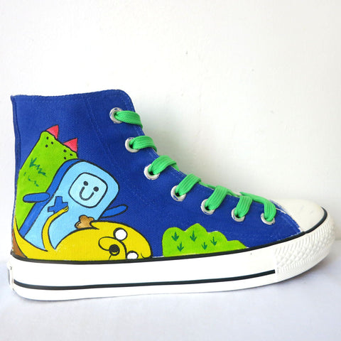 Anime Figure Adventure Time Hand Painted Shoes High Top Lace-Up Men Women Graffiti Canvas Shoes Boys Girls Breathable Shoe - selenekiss - 1