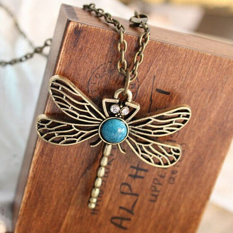 Vintage Jewelry Accessories Fashion European And American Style Retro Dragonfly Necklace - selenekiss - 1