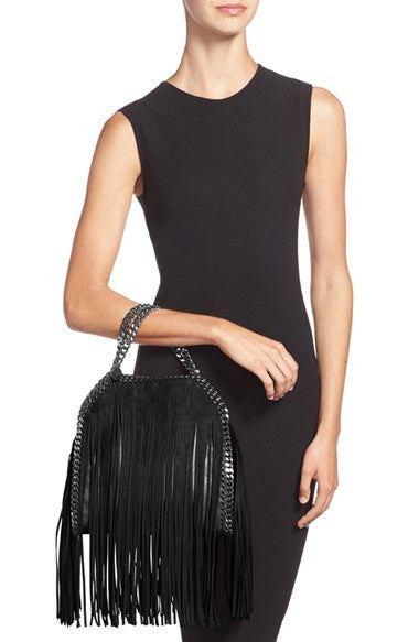 Lux Genuine Leather Fringe Chain Tote Bag - Belle Valoure - 1