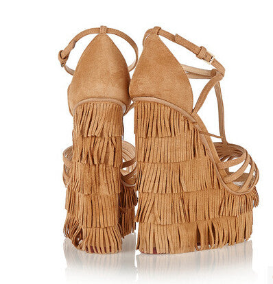 Lora Suede Fringe Wedge Sandals - Belle Valoure - 3
