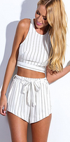 Olive Stripe Halter Top Short Set - Belle Valoure - 1