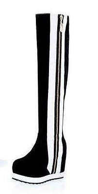 Side Stripe Leather Knee Boots - Belle Valoure - 1