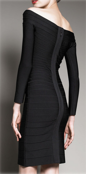 Knee-Length Pencil Long Sleeve Bandage Dress - Belle Valoure - 1