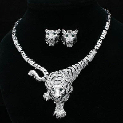 Clear Crystal Tiger Necklace And Earring Set - Belle Valoure - 1
