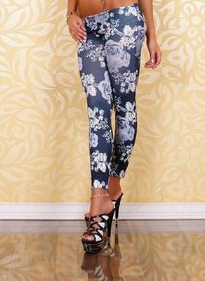 Grey Rose Floral Leggings - Belle Valoure - 1