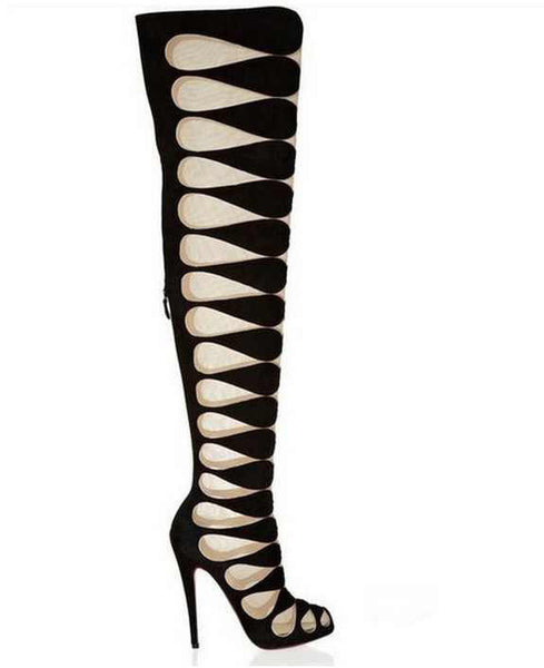 Leather Mesh Knee High Boots - Belle Valoure - 1