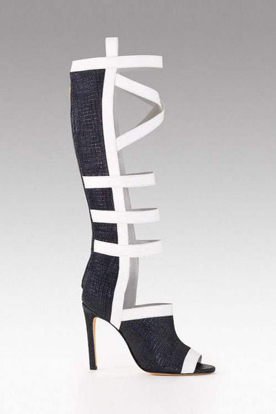 Sama Black And White Cross Strap Boots - Belle Valoure - 1