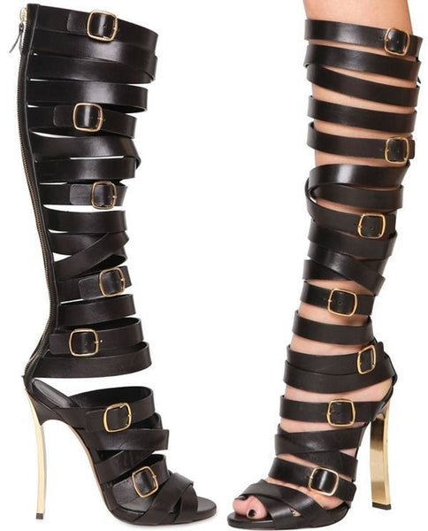 Lora Belted Gladiator Sandals - Belle Valoure - 5
