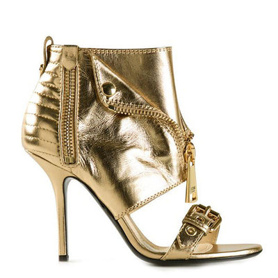 Peep Toe Gold Zipper Sandals - Belle Valoure - 7