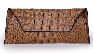 Leather Crocodile Pattern Clutch - Belle Valoure - 1