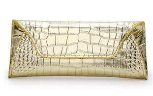Leather Crocodile Pattern Clutch - Belle Valoure - 3