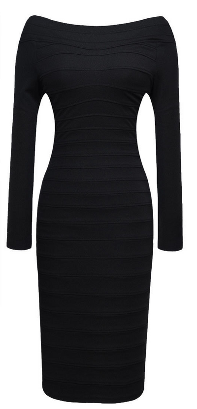 Knee-Length Pencil Long Sleeve Bandage Dress - Belle Valoure - 3