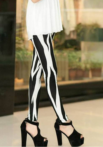 Aneesa Black And White Striped Leggings - Belle Valoure