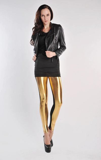 Yara Gold Splice Leggings - Belle Valoure - 2