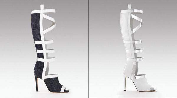 Sama Black And White Cross Strap Boots - Belle Valoure - 2